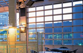Large Glass Doors Like This One Are Really Popular In Restuarants And Night Clubs Near Savannah Aluminium Glass Door Aluminium Garage Doors Glass Garage Door