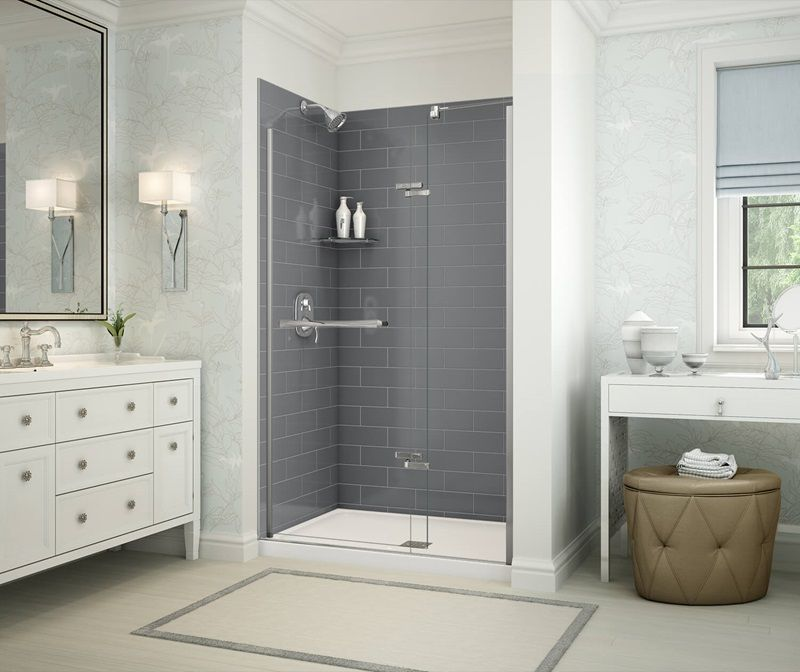 2nd Option For Shower Lowe S Insert Panels And Tray Maybe Different Color Corner Shower Shower Remodel Shower Wall Panels