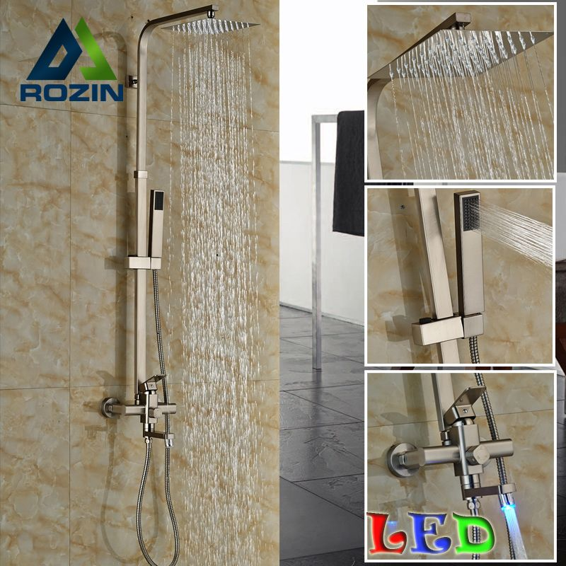 New Design LED Light Tub Spout Rainfall Shower Head + Hand Shower Bathroom  In Wall Shower Faucet Set Brushed Nickel
