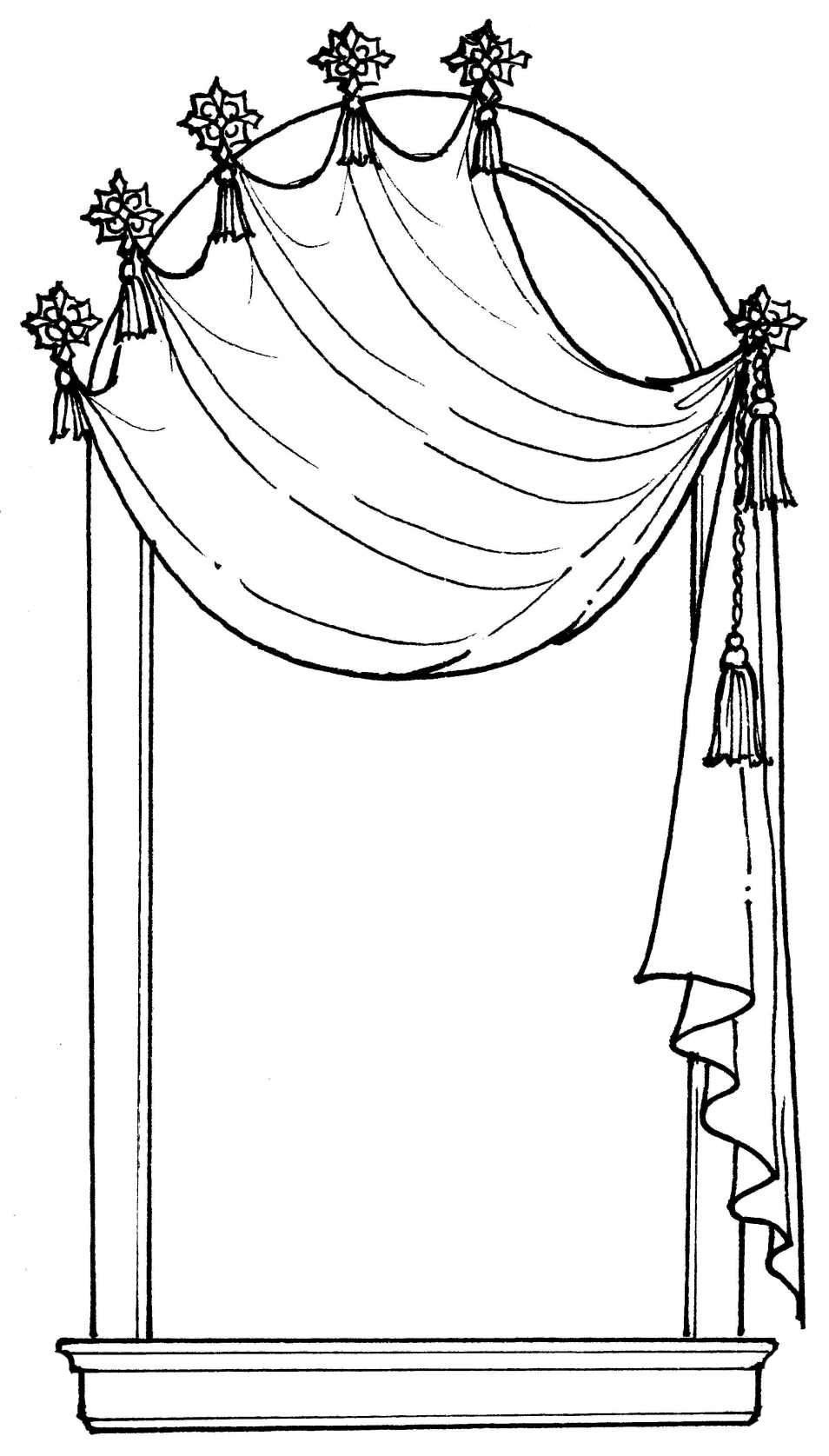 Castle Window With Curtains Coloring Page