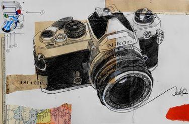 "Saatchi Online Artist Loui Jover; Drawing, ""nikon days"" #art"
