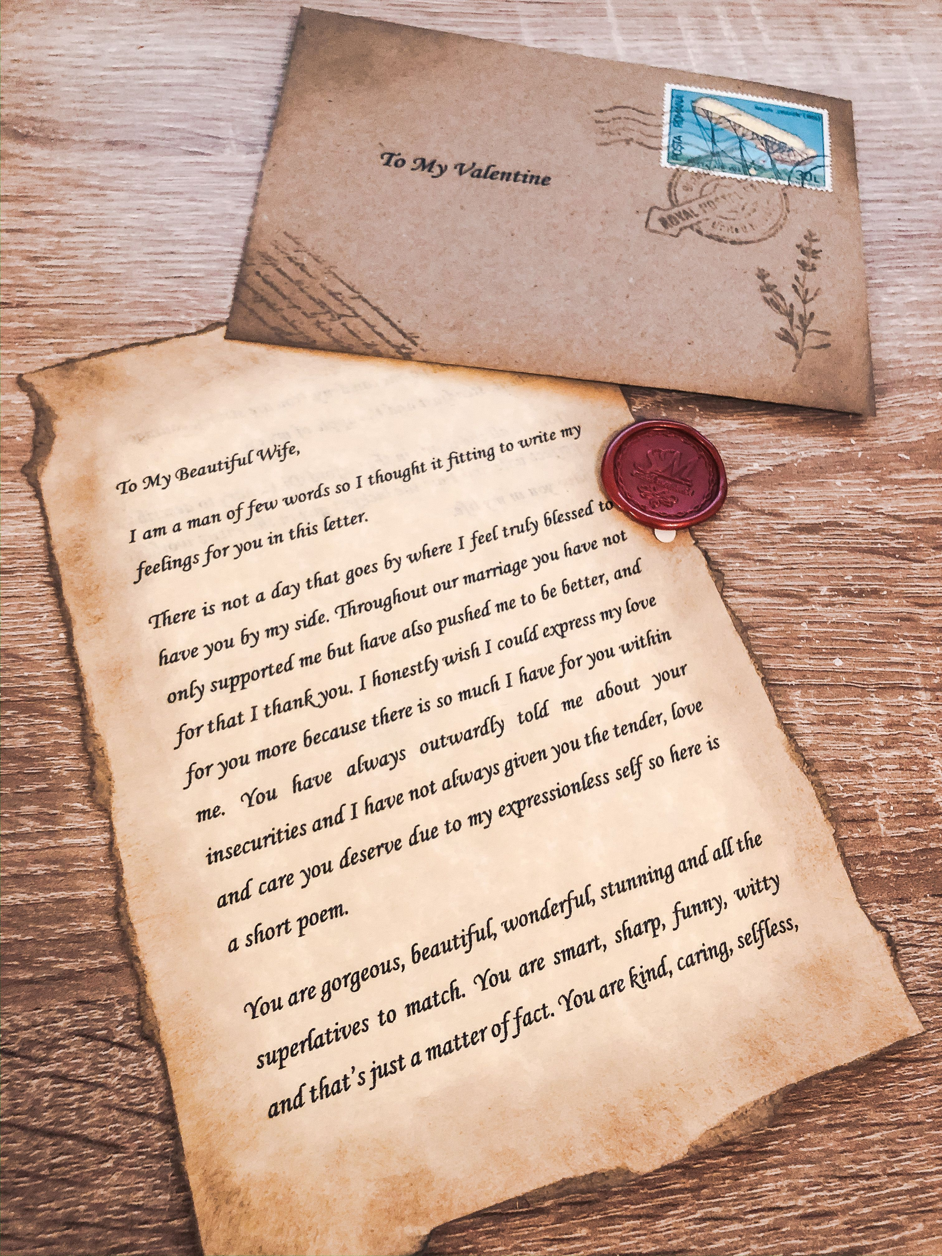 Personalised Handmade Love Letter Vintage Wax Sealed Envelope Gift