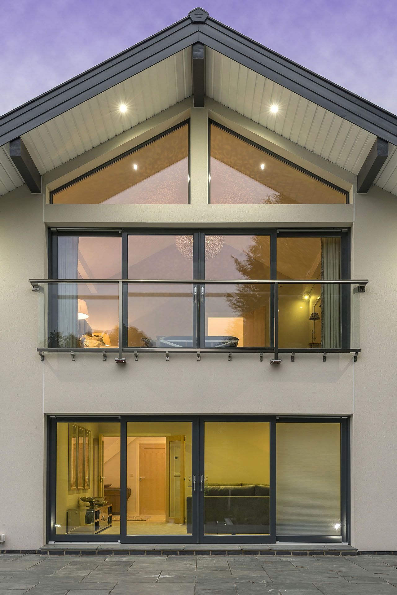 A close up of our modern minimalist glass juliet balcony ...