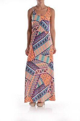 New Multi Colored Geometric Tank Sleeveless Maxi Dress Size Small