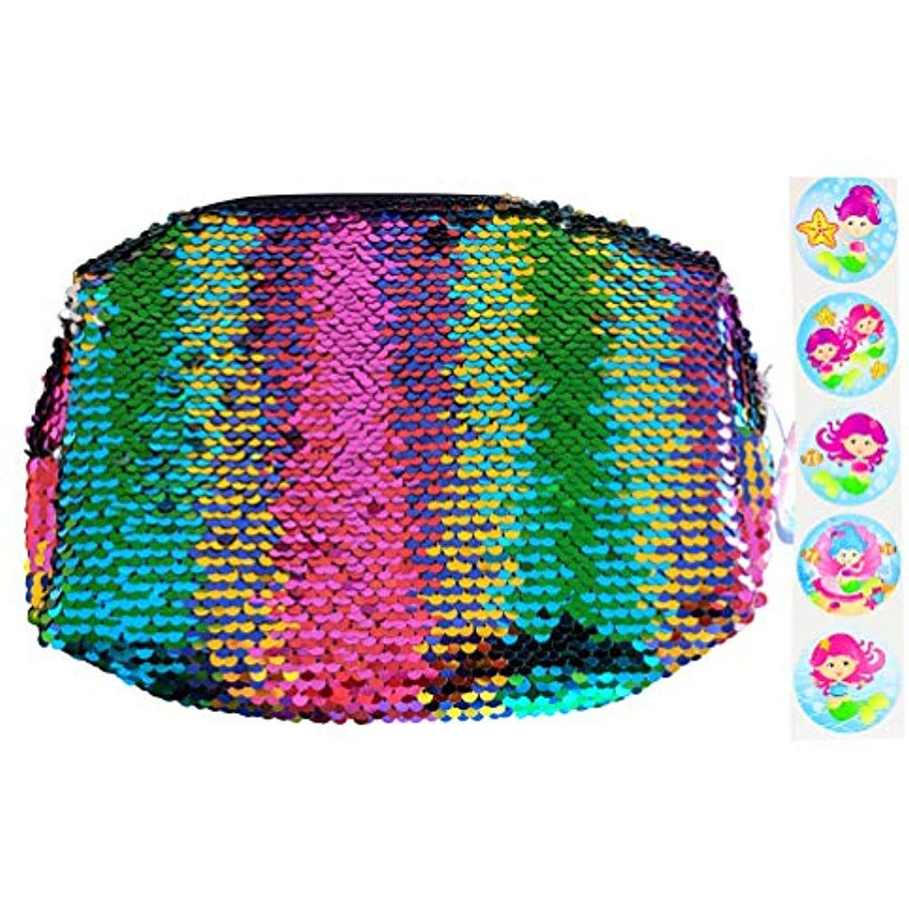 Magic reversible= sequin= makeup= pouch= -= rainbow= mermaid