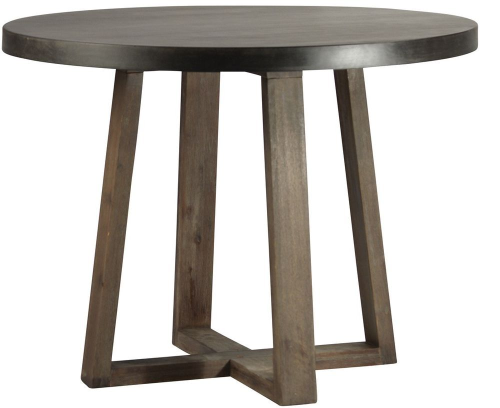 Round Dining Table Light Weight Concrete Top Solid Wood Oak   30 Round  Dining Table