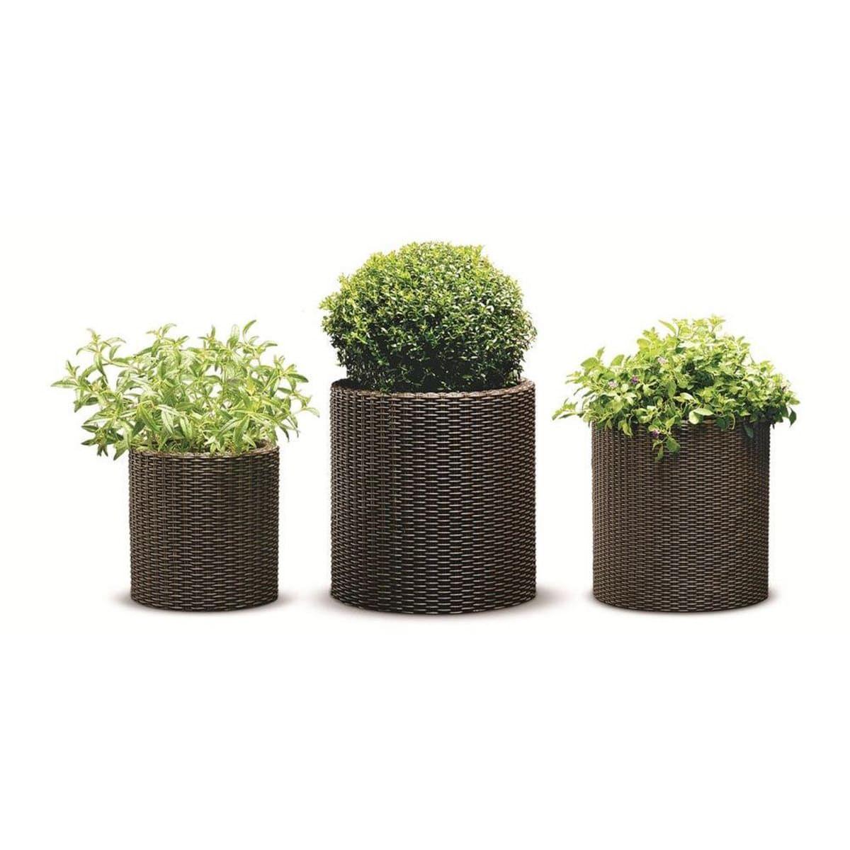 Keter Brown Plastic Resin Rattan Round Cylinder 3 Piece Garden