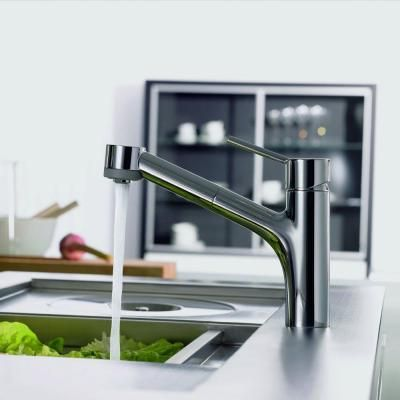 Hansgrohe Talis S Single-Handle Pull-Out Sprayer Kitchen Faucet in Chrome-06462000 - The Home Depot