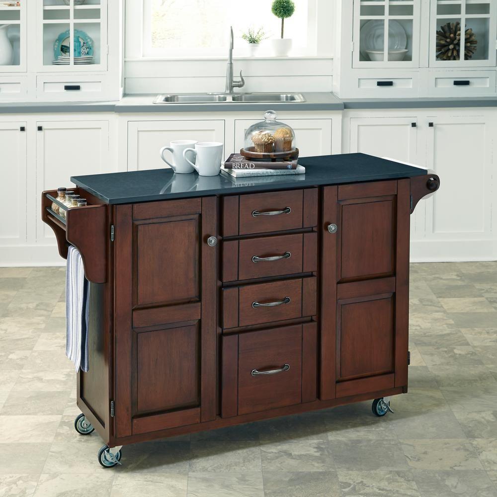 Create-a-Cart 53 in. W Quartz Top Kitchen Cart in Rustic ...