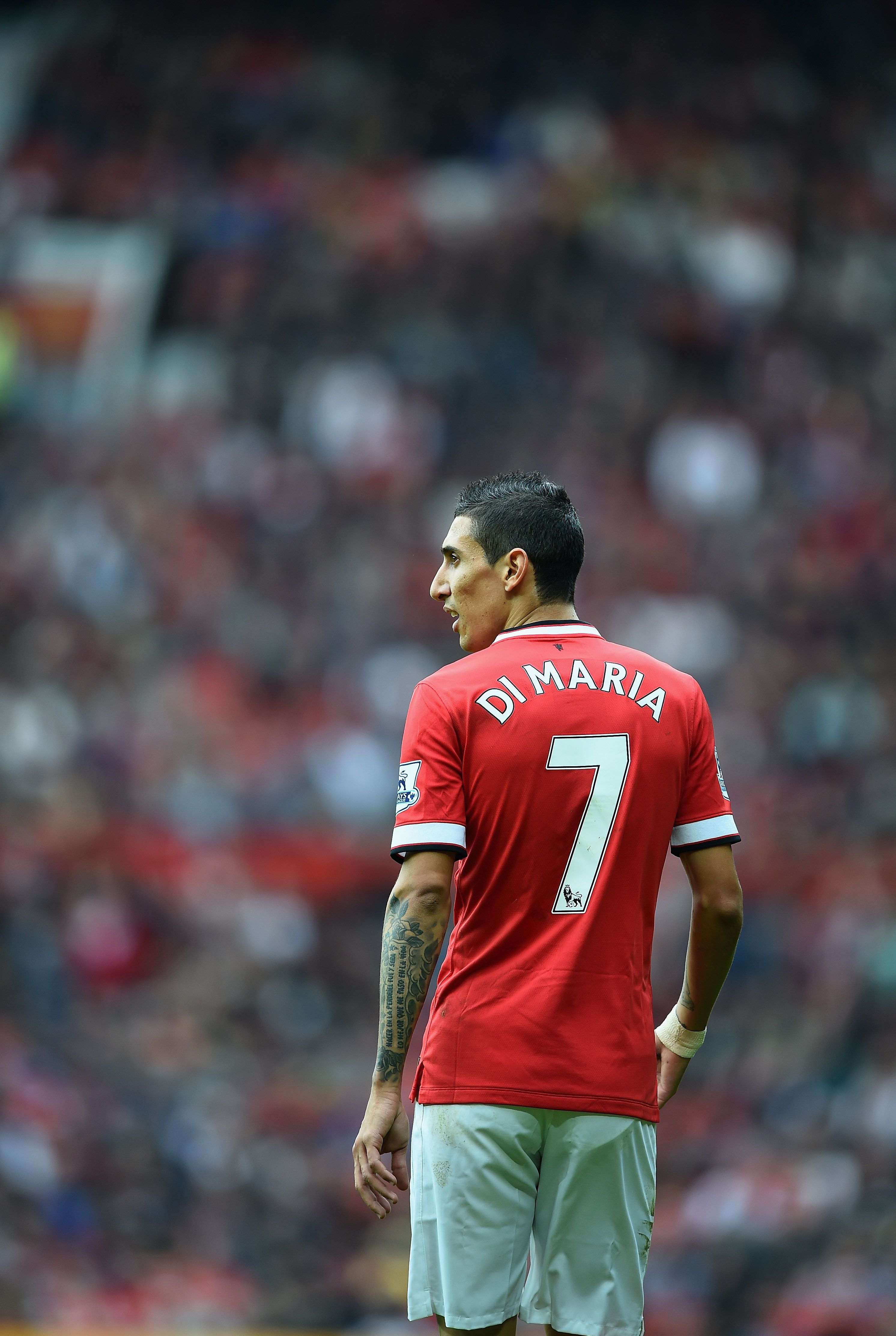 Angel Di Maria patrols the Old Trafford touchline during