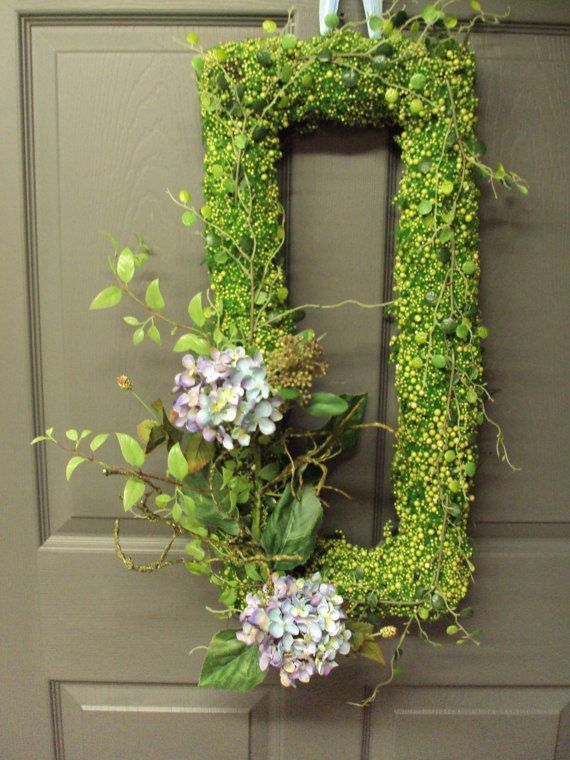 Violet Blue Hydrangea Wreath Front Door Wreath By PeriwinkleSilks