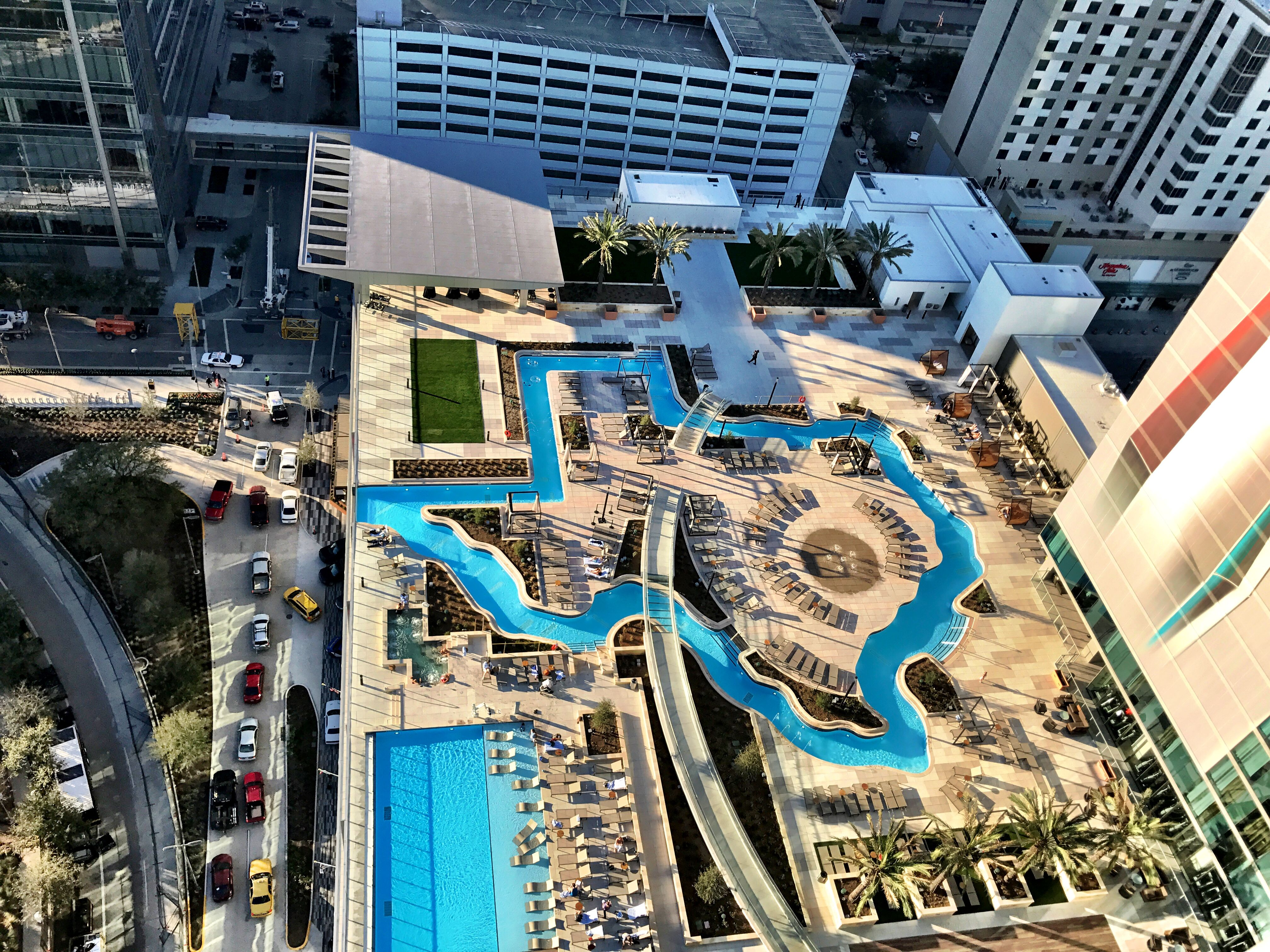 Texas Shaped Rooftop Lazy River At New Marriott Marquis In Houston Texas Shaped Texas Travel Road Trip Fun