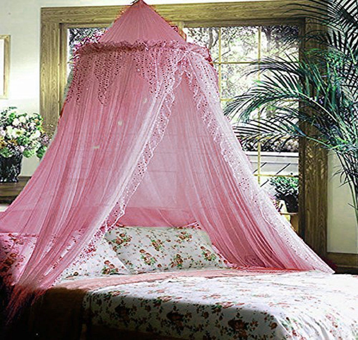 Mosquito Net Bed Canopy Lace Luxury 4 Corner Square Princess Fly