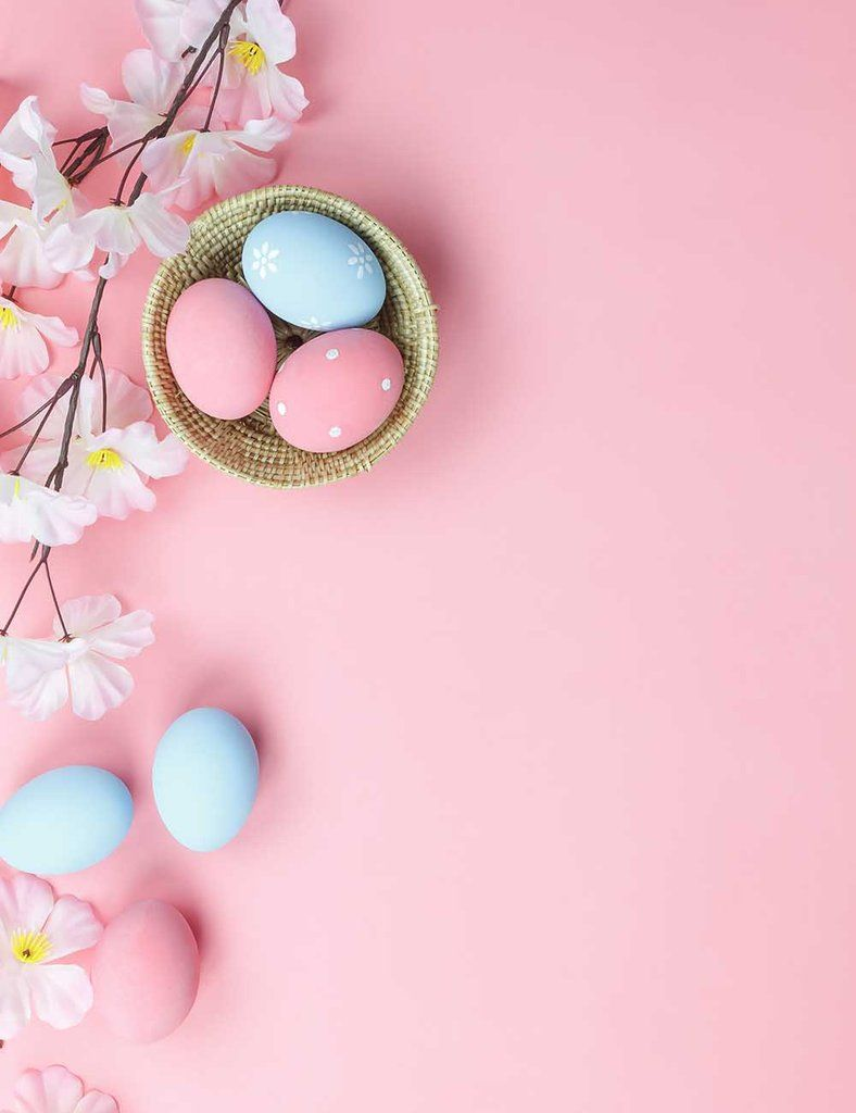 Easter Eggs And Flower On Pink Wood Floor For Baby