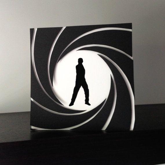 James Bond 007 inspired Handmade Card DIY cards – James Bond Birthday Cards