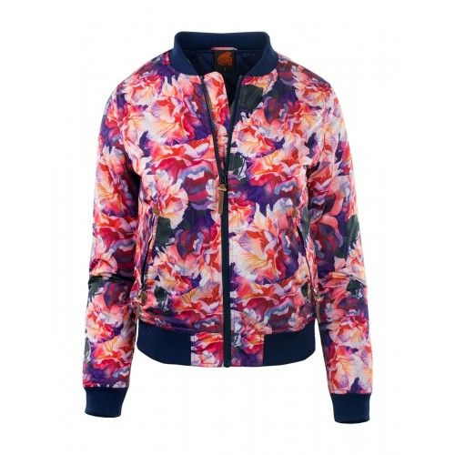 Damska Kurtka Kahina W 6228 Pink Floral Iguana Kolekcja Damskie Casual Iguana Group Sp Z O O Pink Floral Bomber Jacket Iguana
