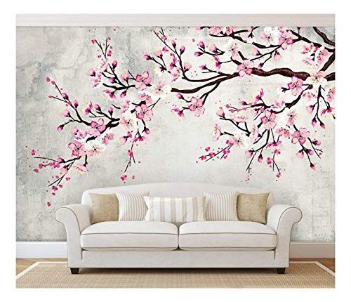 Large Wall Mural Watercolor Style Ink Painting Pink Cherry Blossom on Vintage Wall Background Vinyl Wallpaper Removable Wall Decor The Effective Pictures We Offer You Abo...