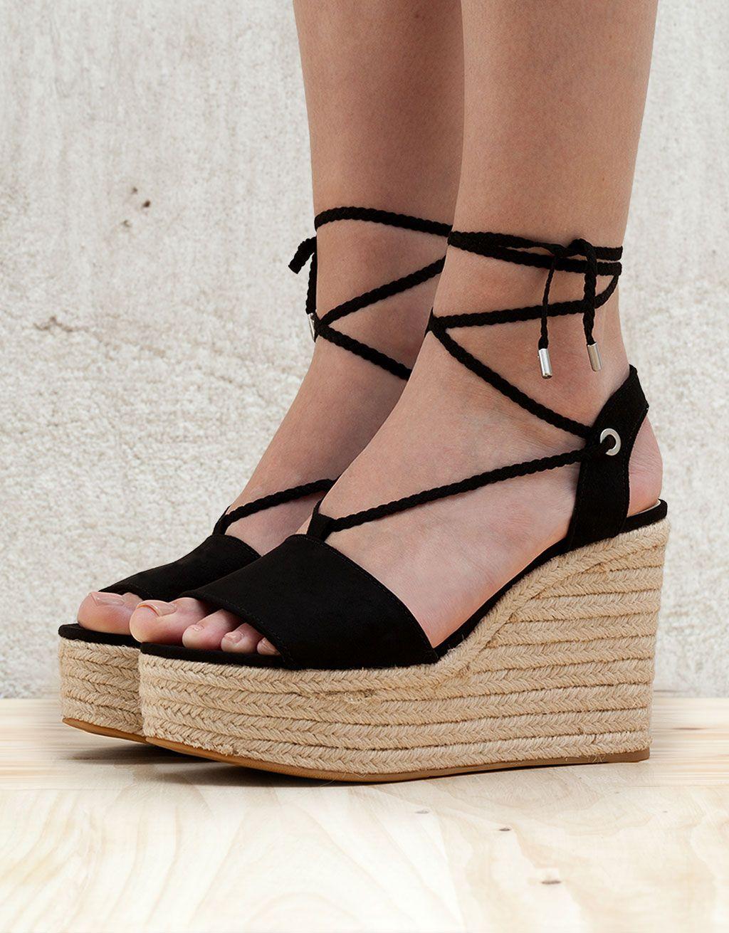 Mujeres Damas ALPARGATAS CUÑAS de verano Zapatos De Tacón Altos Tiras Fiesta Sandalias Talla - Negro Ante Artificial, 41