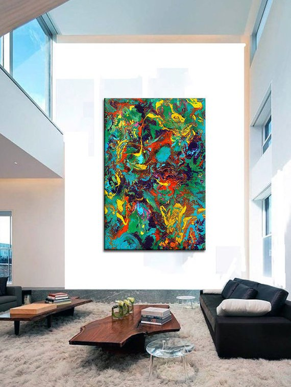 Oversized Canvas Wall Art Contemporary Abstract Prints Epoxy Resin Painting Extra Large