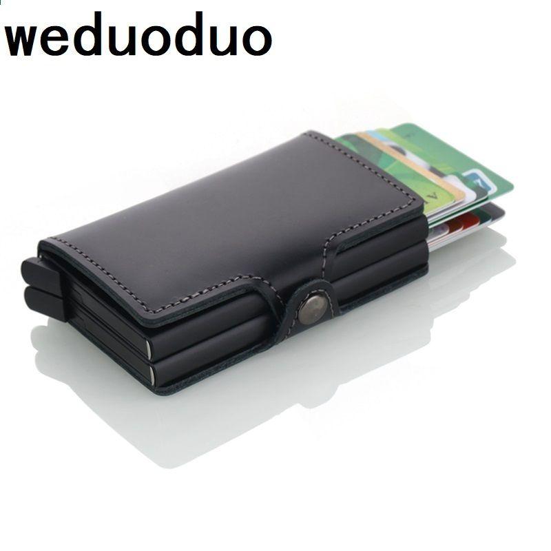 067dcc4a1ead0 Skórzany automatyczny uchwyt na karty kredytowe Mężczyźni Wysokiej jakości aluminiowa  karta kredytowa Business Wielofunkcyjny portfel na