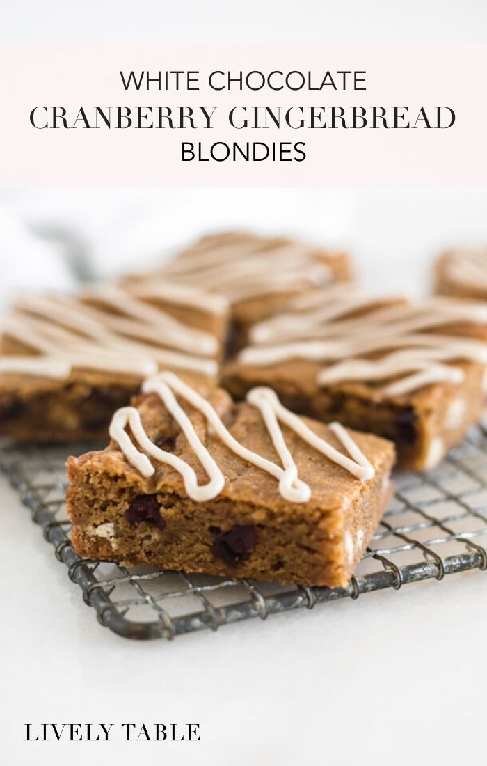 Cranberry White Chocolate Gingerbread Blondies Recipe Whip up a batch of Cranberry White Chocolate Gingerbread Blondies as an easy holiday dessert that you can bring to l...