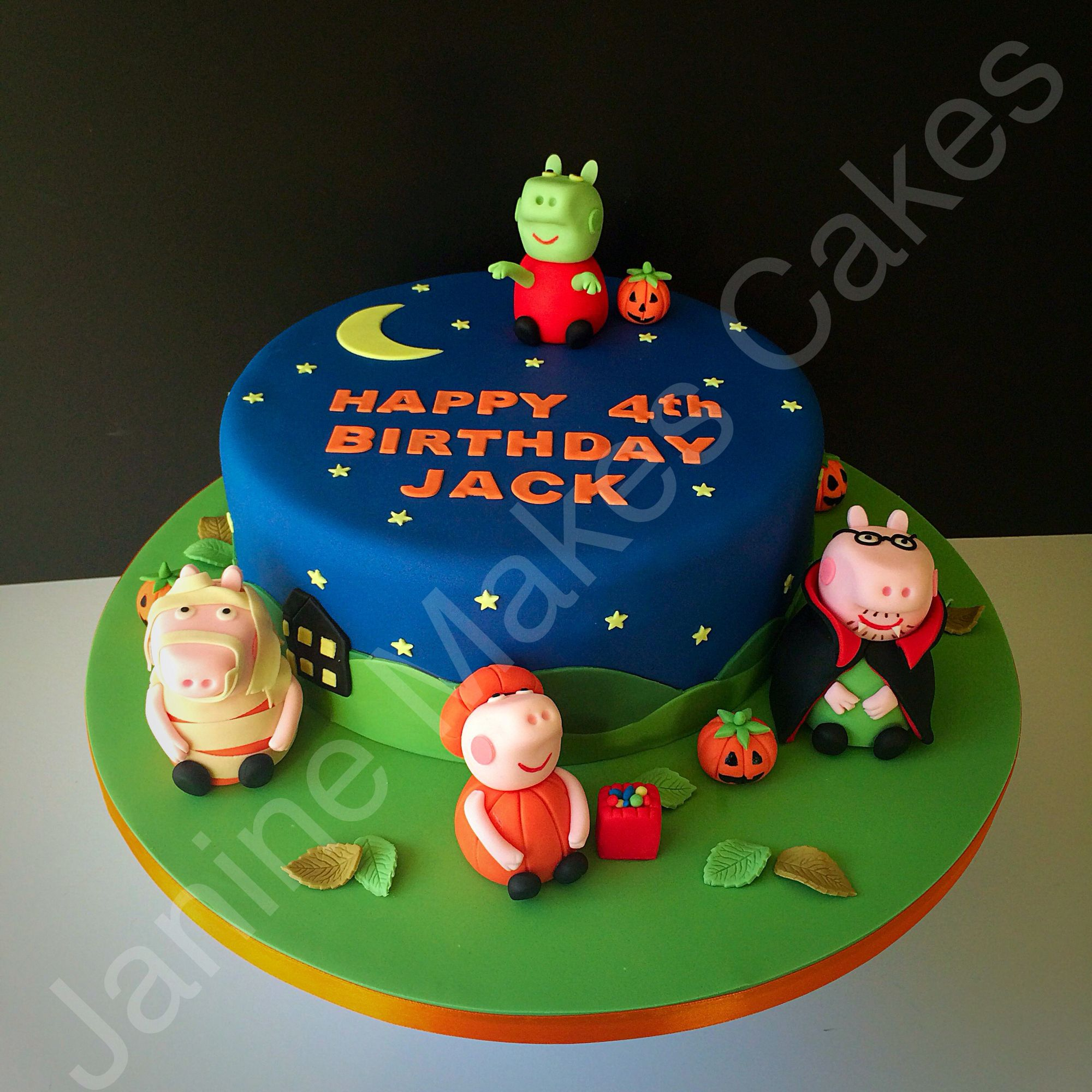 Zombie Peppa Pig Halloween Birthday Cake