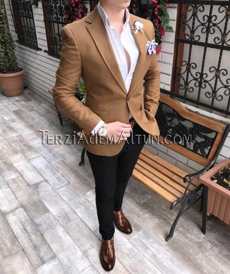 8a4b7e632ac75 İtalyan stil tek dügme slim fit erkek blazer tek ceket camel T2315 ...