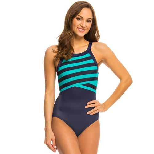 20ab9cc46b846 DKNY Swim Stripe High Neck Maillot One Piece Currant | DKNY Swimwear ...