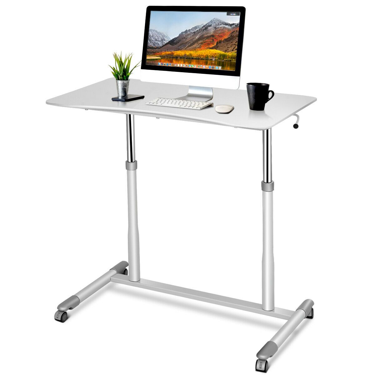 Costway Height Adjustable Computer Desk Sit Stand Rolling Notebook Table Stand Portable Walmart Com In 2020 Adjustable Computer Desk Adjustable Height Desk Computer Stand For Desk