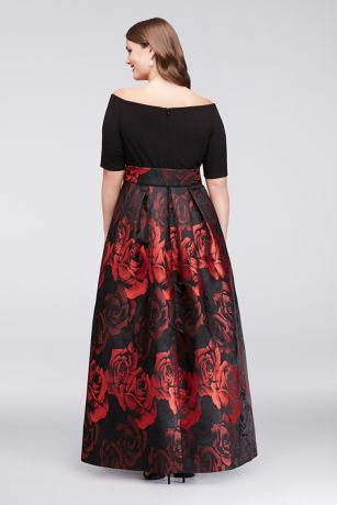Off-The-Shoulder Jacquard Plus Size Ball Gown JHDW3111  190095b6b