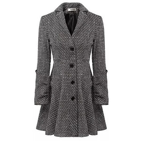 Gray Lapel Single Breasted Nipped Waist Long Wool Coat (215 DKK) ❤ liked on Polyvore featuring outerwear, coats, jackets, coats & jackets, gray wool coats, wool coat, long woolen coats, long coat and single-breasted trench coats