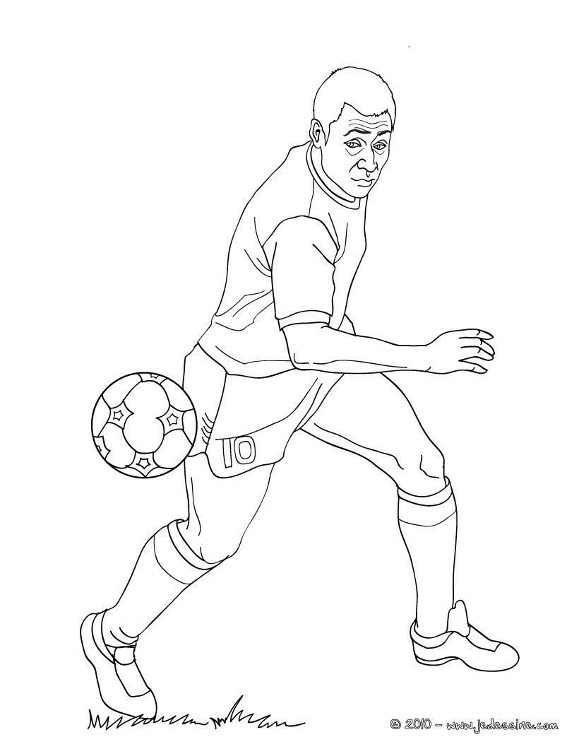 Coloriage du cél¨bre joueur de foot Pelé € imprimer gratuitement ou colorier en ligne sur