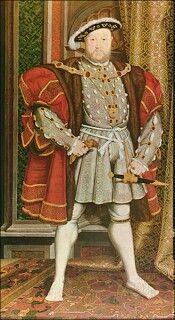 Enrique VIII, icono de la moda S XVI. Jubón acolchado largo,  acentúa los hombros, capa de piel y zapatos de pico de pato