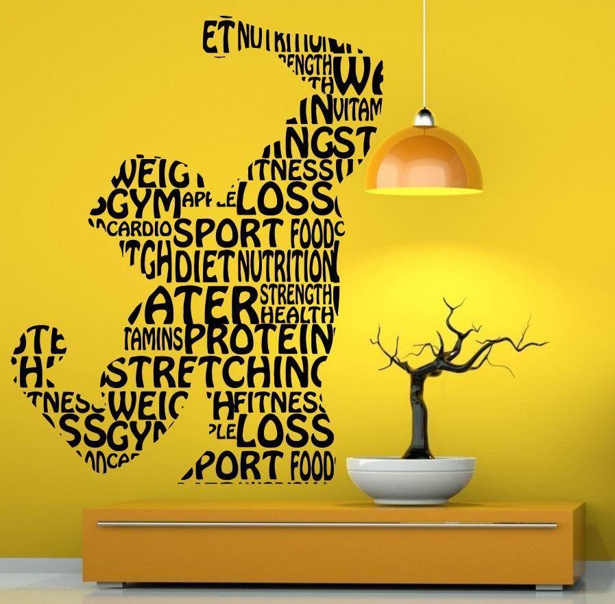 Fitness Gym Wall Decal Vinyl Wall Sticker Sport Home Mural Art Home Decor