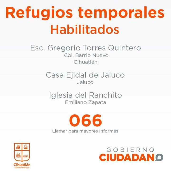 #Cihuatlán te compartimos los refugios temporales ante la presencia del#HuracanPatricia. Tomen precauciones