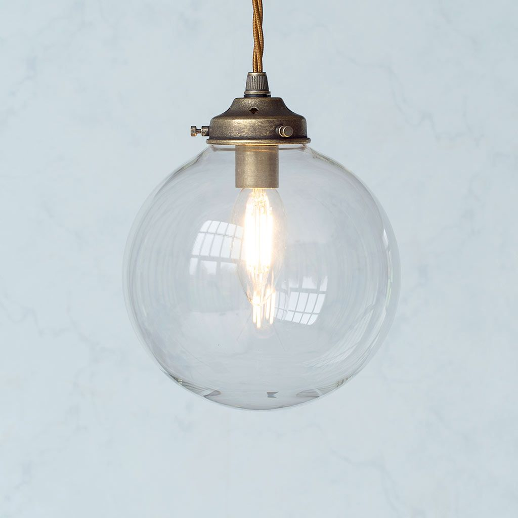 Compton Glass Pendant Light In Antiqued Brass Glass Pendant