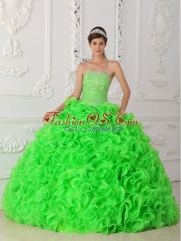 5234ed28ed8 Spring Green Ball Gown Strapless Organza Beading 2013 Quinceanera Dresses  with Ruffles
