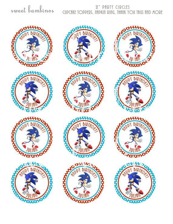 Sonic The Hedgehog Cupcake Topper Pdf File By Andreaswenson Cumple Peppa Ninos Y Padres Cumple
