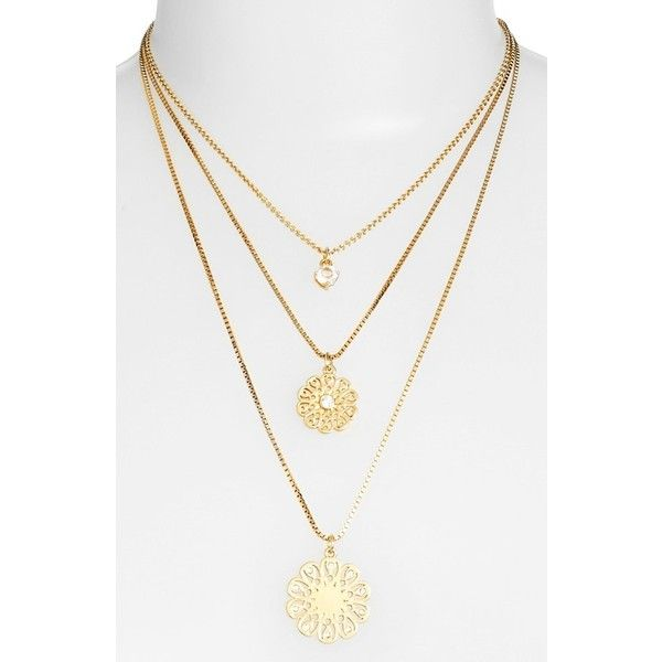 katespade new york'strike gold' triple layer pendant necklace (67.510 CLP) ❤ liked on Polyvore featuring jewelry, necklaces, gold jewelry, gold necklace pendant, layered pendant necklace, square pendant necklace and box chain necklace