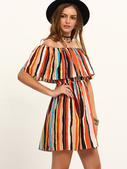 Multicolor Striped Off The Shoulder Ruffle Dress $13.33 Shein