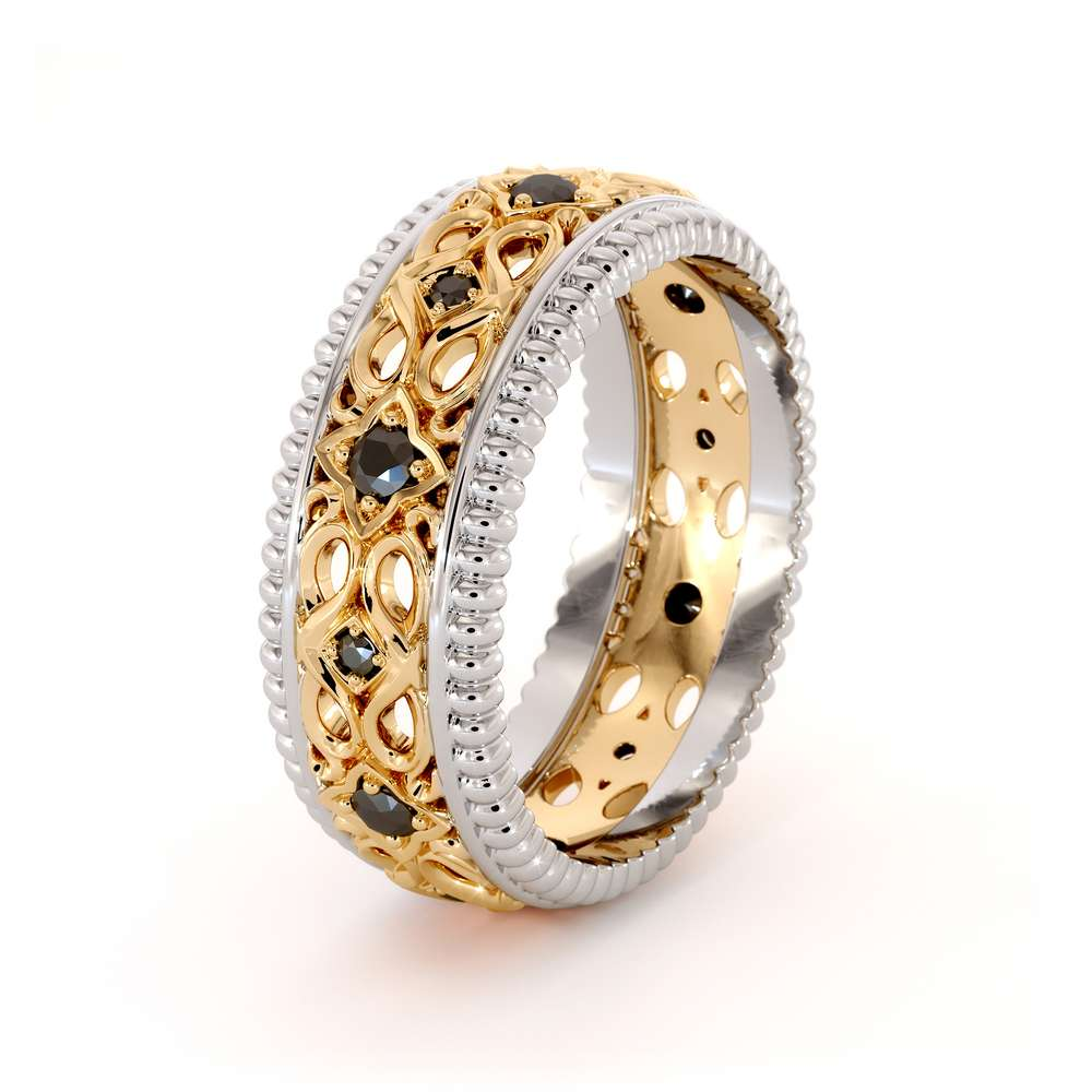 Unique Filigree Wedding BandBlack Diamonds Band14K Two