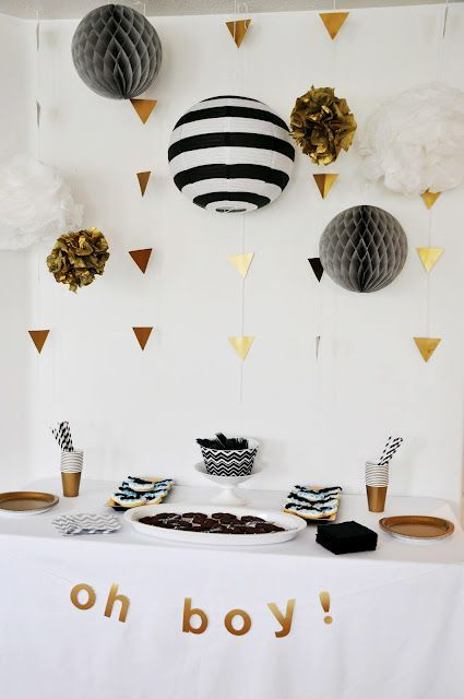 Hey Girl/Hey Boy For A Baby Shower? BANNER: White/ Black/ Gold Decor   We  Can Put A Bunch Of Pom Poms Together To Create A Big Statement Banner