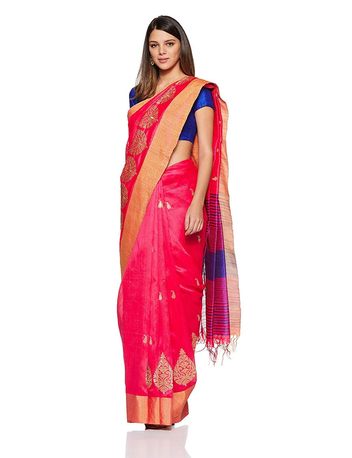 5397a1afbdca6 Aalia Art Silk Embroidered Saree with Blouse piece (8802-Pink ...