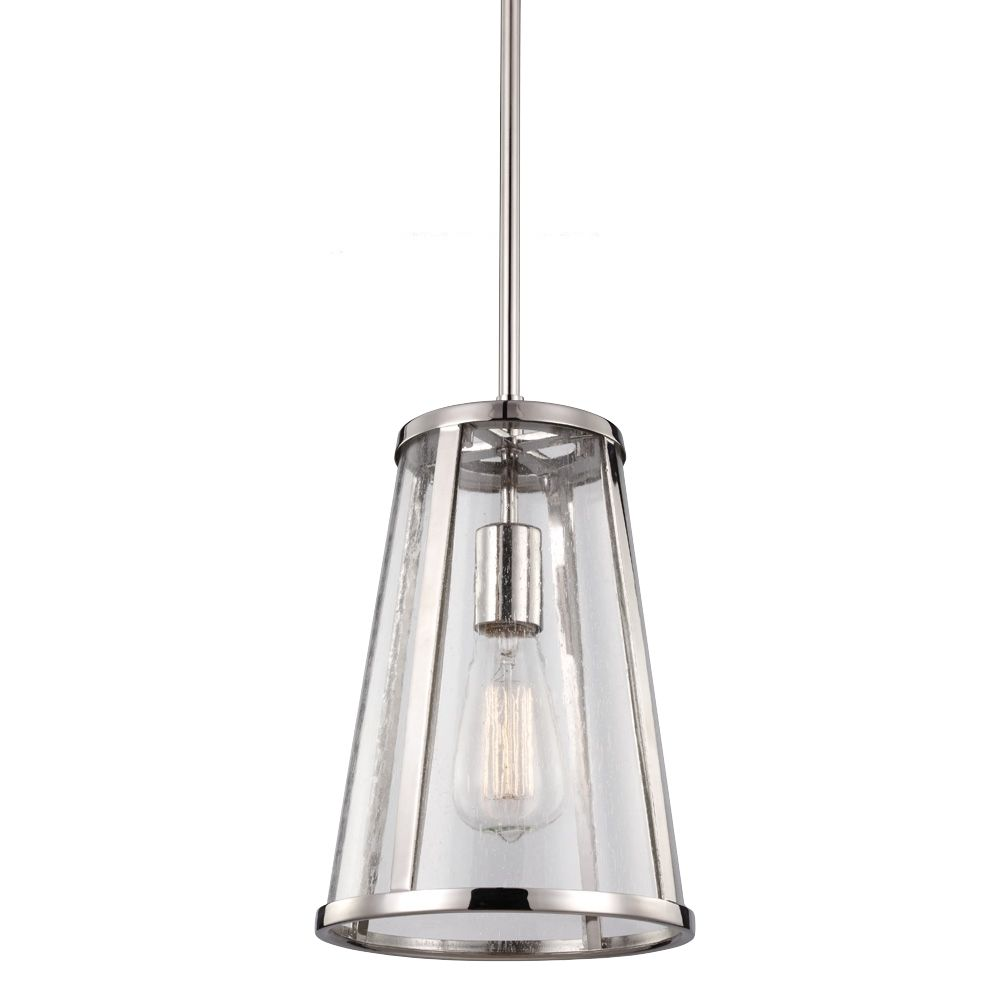 Feiss Harrow Collection P1287PN, 1   Mini Pendant, Polished Nickel,  Dimensions: 8 Gallery