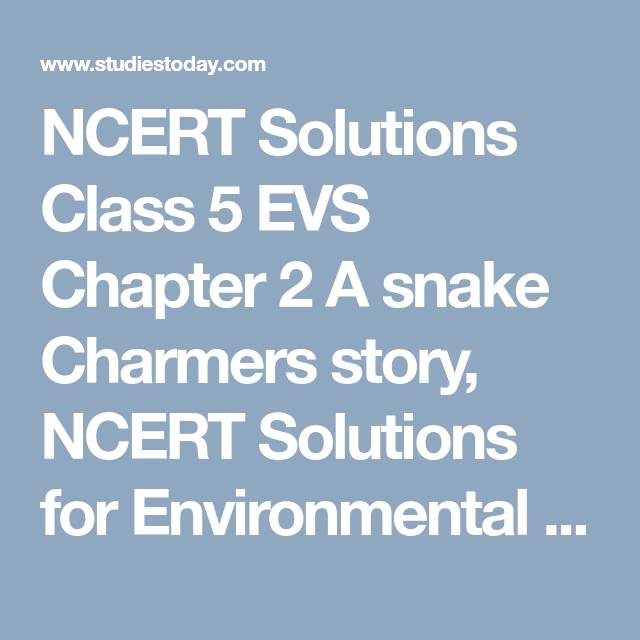 NCERT Solutions Class 5 EVS Chapter 2 A snake Charmers story