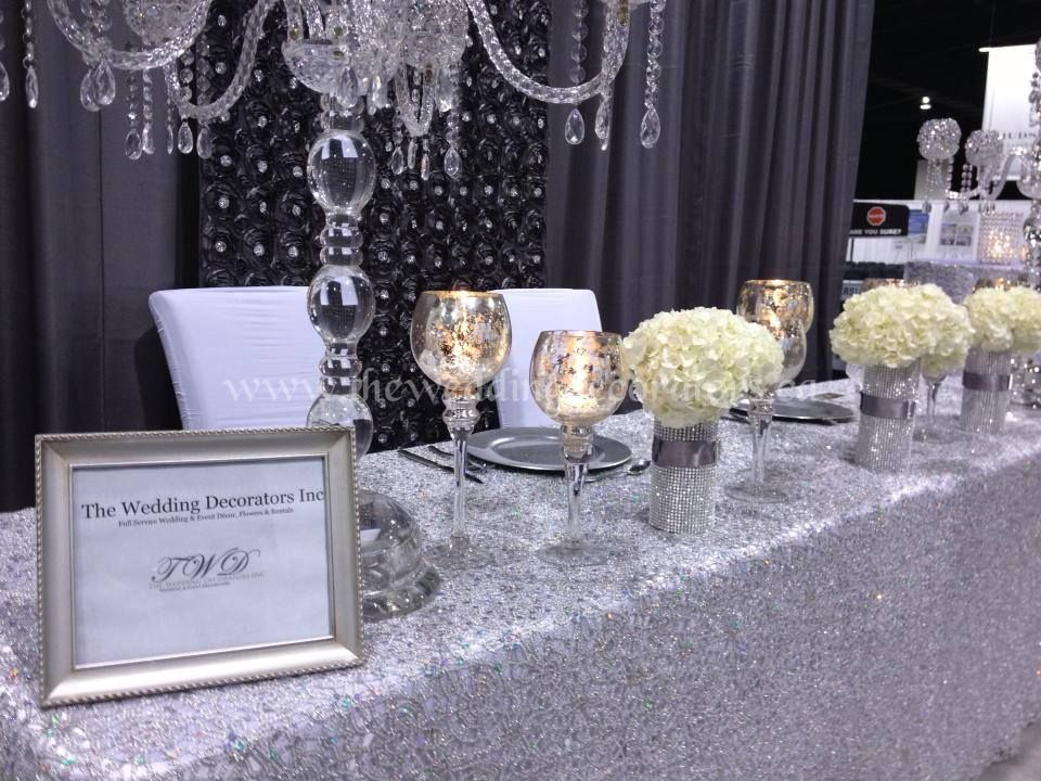 Wedding Show Booth Decor Silver Crystal White Wedding Head Table