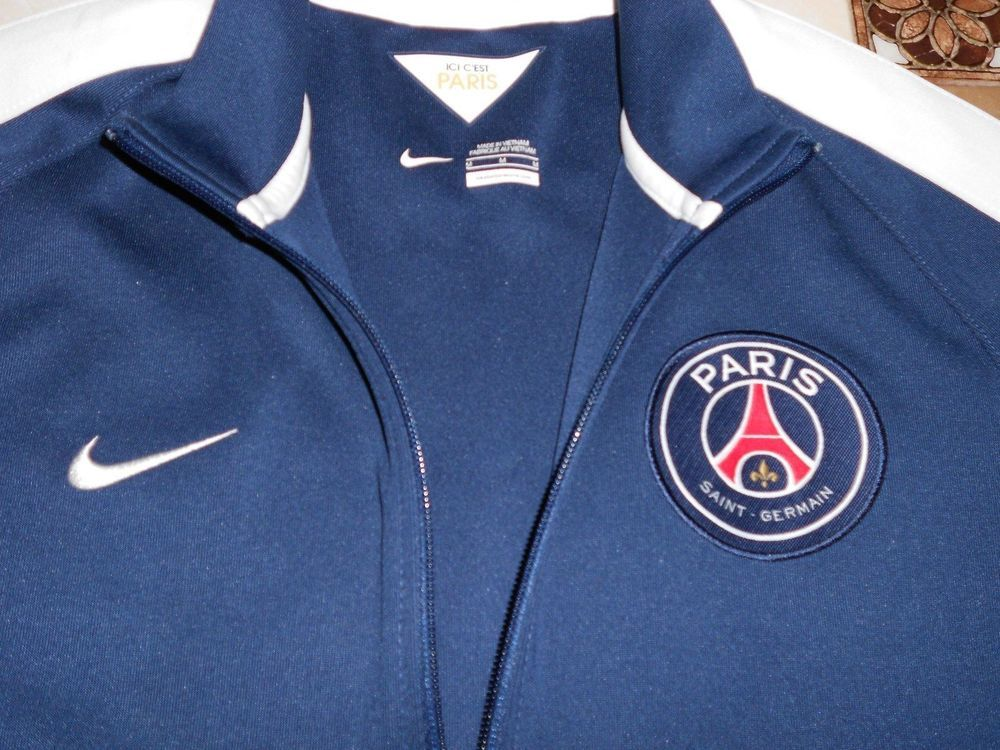 Men s PSG AUTHENTIC Track JACKET Football Soccer French Full-zip Blue Size M  Top   73a0357fe