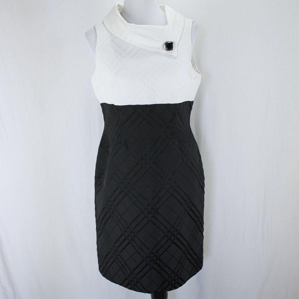 Tahari Arthur S Levine Dress Sz 10 Black White Sleeveless Textured Sheath Tahari Clothes For Women Clothes White Sleeveless [ 1000 x 999 Pixel ]