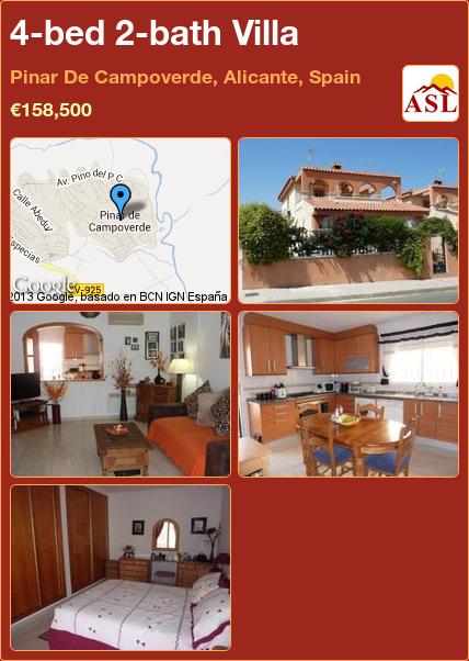 4-bed 2-bath Villa in Pinar De Campoverde, Alicante, Spain ►€158,500 #PropertyForSaleInSpain