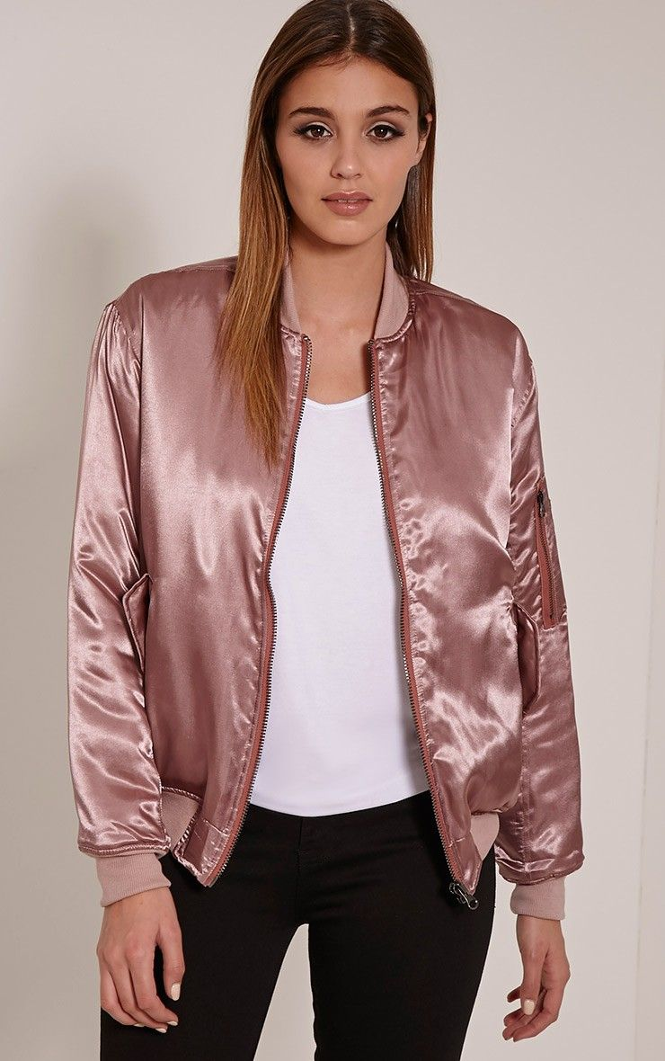 Cruz Mauve Satin Oversized Bomber Jacket Aesthetic
